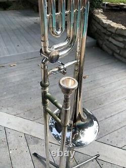 Vintage Olds Super Star Trigger Trombone Argent Avec Boîtier, Support Et Muet