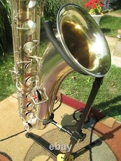 Vintage Plaqué Argent Roi Zephyr Saxophone Baryton 1949 Double Socket Neck