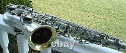 Vintage Symphony Conn Stencil Argent Alto Sax Withgold Wash Bell Pour La Restauration